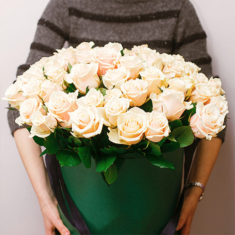 Gift Boxed White Roses